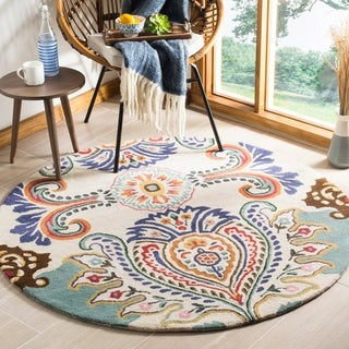 Safavieh Handmade Bella Ivory/ Blue Wool Rug (5' x 5' Round)