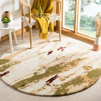 Safavieh Handmade Bella Modern Abstract Beige/ Green Wool Rug - 5' x 5' round