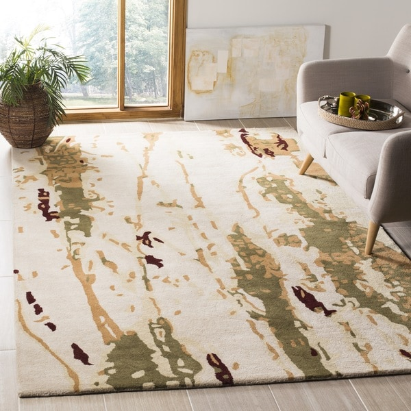 Safavieh Handmade Bella Modern Abstract Beige/ Green Wool Rug - 8' x 10'