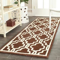 Safavieh Handmade Moroccan Cambridge Dark Brown Wool Rug - 2'6 x 12'