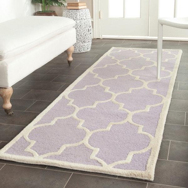 """Safavieh Handmade Cambridge Moroccan Lavander Indoor Wool Rug (2'6"""" x 12')"""
