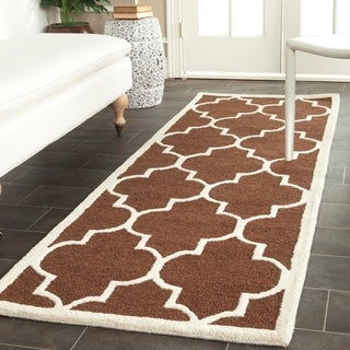 "Traditional Safavieh Handmade Cambridge Moroccan Dark Brown Wool Rug (2'6"" x 12')"