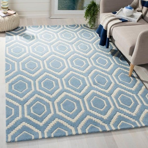 Safavieh Handmade Moroccan Blue Geometric Hexagonal Pattern Wool Rug - 6' x 9'