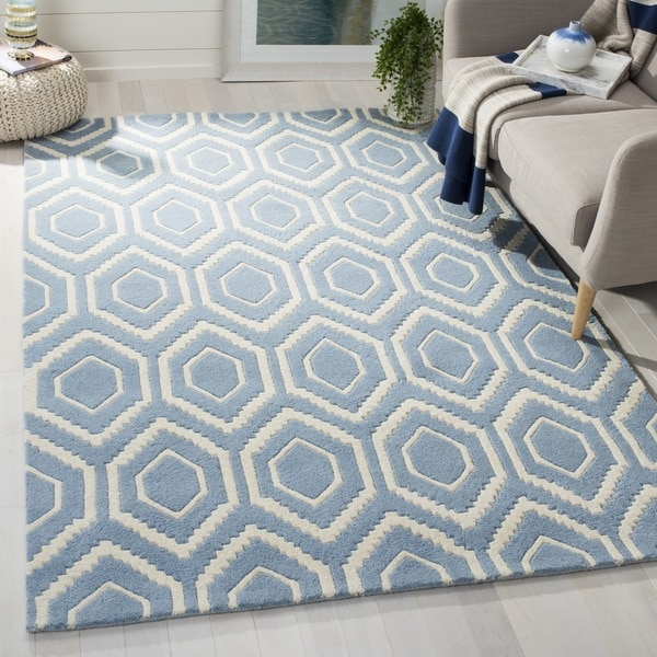 "Safavieh Contemporary Handmade Moroccan Blue Wool Rug (8'9"" x 12')"