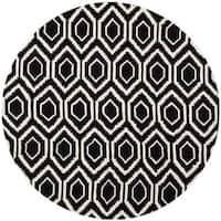 Safavieh Handmade Moroccan Black Wool Rug with Thick Pile - 7' Round