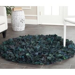Safavieh Handmade Decorative Rio Shag Green/ Blue Rug (4' Round)