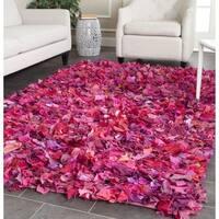 Safavieh Handmade Decorative Rio Shag Fuchsia/ Purple Rug - 8' x 8' Square