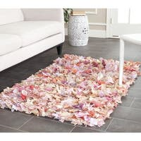 Safavieh Handmade Decorative Rio Shag Pink Runner (2'6 x 4') - 2'6 x 4'