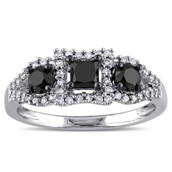 Miadora Sterling Silver 1ct TDW Black and White Diamond 3-stone Ring