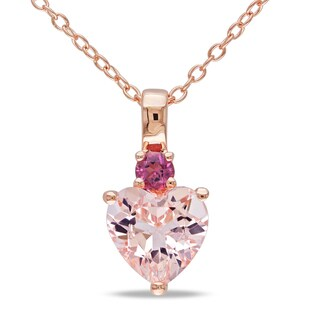 Miadora Rose-plated Silver Morganite and Pink Tourmaline Heart Necklace