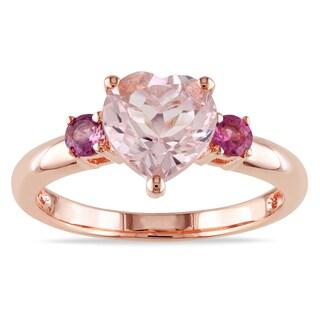 Miadora Rose-plated Silver Heart-cut Morganite and Pink Tourmaline Ring