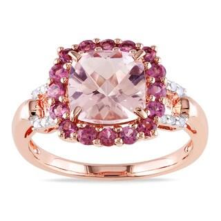 Miadora Rose-plated Silver Morganite, Tourmaline and Diamond Ring