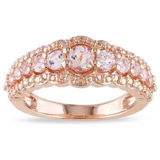 Miadora Rose-plated Silver 1ct TGW Morganite Ring