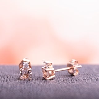 Miadora 10k Rose Gold Morganite and Diamond Accent Stud Solitaire Earrings (G-H, I2-I3)