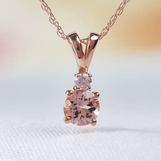 Miadora 10k Rose Gold Morganite and Diamond Necklace|https://ak1.ostkcdn.com/images/products/7974701/P15344414.jpg?impolicy=medium