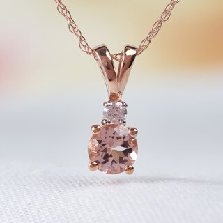 Miadora 10k Rose Gold Morganite and Diamond Necklace