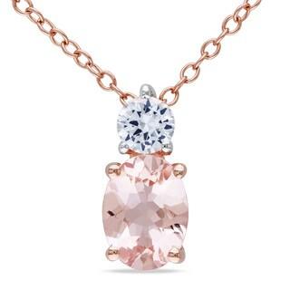 Miadora Rose-plated Silver Morganite and White Sapphire Necklace