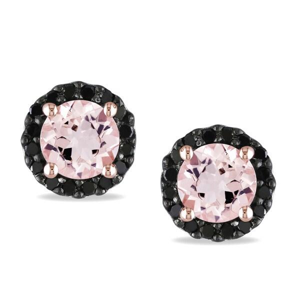 Miadora Sterling Silver Morganite and 1/6ct TDW Black Diamond Earrings