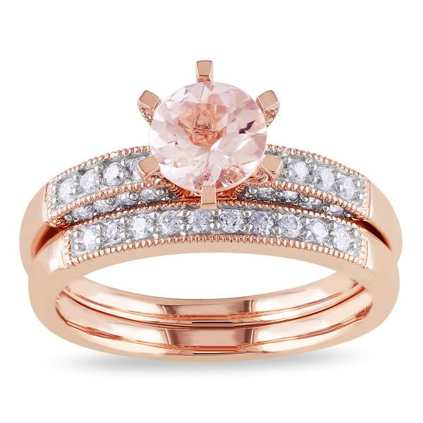 Miadora Morganite and 1/3ct TDW Diamond Bridal Set in 10k Rose Gold (G-H, I2-I3)