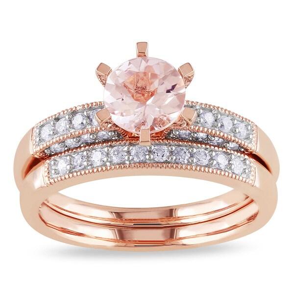 Miadora Morganite and 1/3ct TDW Diamond Bridal Set in 10k Rose Gold