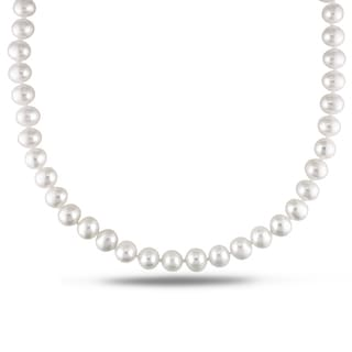 Miadora Sterling Silver White Cultured Freshwater Pearl Necklace (7-7.5 mm)