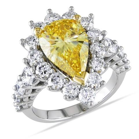 Miadora 19k Gold 5 1/2ct TDW Certified Yellow and White Diamond Ring