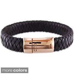Miadora Rosetone Stainless Steel Leather Bracelet|https://ak1.ostkcdn.com/images/products/7974717/Miadora-Rosetone-Stainless-Steel-Leather-Bracelet-P15344429.jpg?impolicy=medium