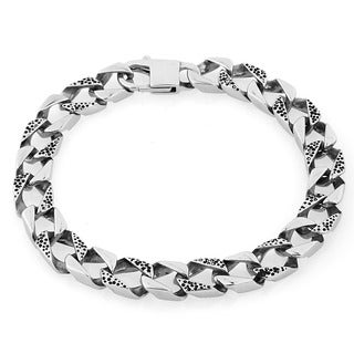 Stainless Steel Cheetah Square Link Bracelet