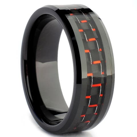 Tungsten Carbide Men's Black and Red Carbon Fiber Inlay Ring