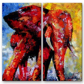 'Elephant Sunrise' 2-piece Metal Wall Decor Set
