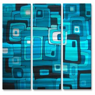 'Blue Jazz I' 3-piece Metal Wall Decor Set