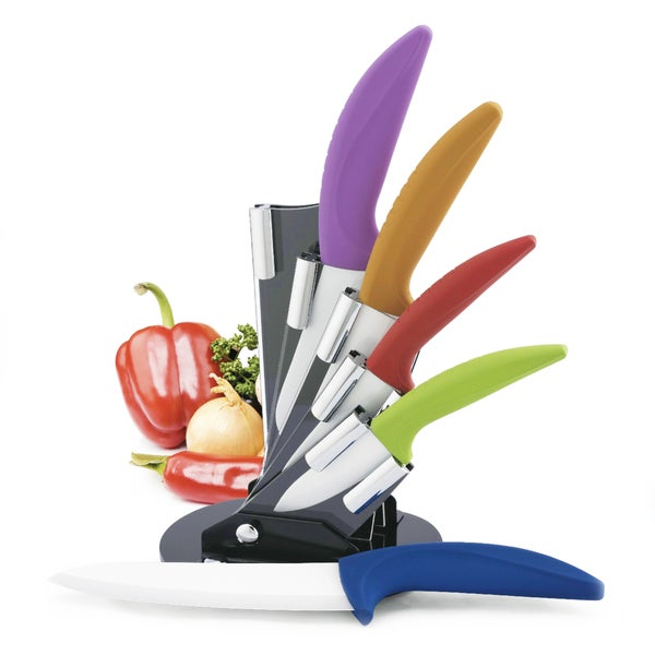 colored kitchen knife block set shop modern block color ceramic cutlery set with grip 8259