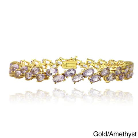 Glitzy Rocks Goldtone Gemstone 2-row Zig-zag Design Bracelet
