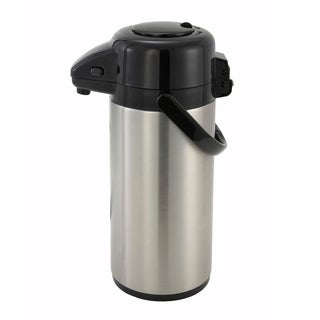 Winco 2.5-liter Stainless Steel Vacuum Insulated Push Button Top Airport