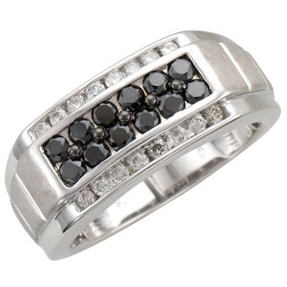 Unending Love Men's Sterling Silver 1 1/10ct TDW Black and White Diamond Band