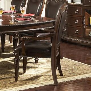 TRIBECCA HOME Tusca Dark Brown Bi-Cast Leather Arm Chairs (Set of 2)