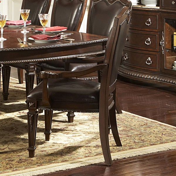 Leahlyn Reddish Brown Arm Chair Set Of 2: TRIBECCA HOME Tusca Dark Brown Bi-Cast Leather Arm Chairs