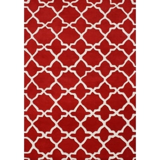 Handmade Tufted Red Wool Blend Rug (8' x 10')