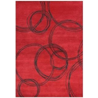 Handmade Red/ Black Wool Blend Rug (8' x 10')