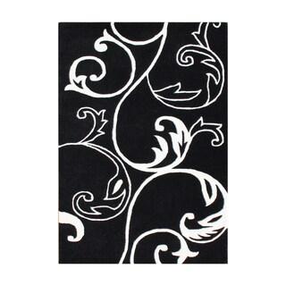 Handmade Floridly Black Blend Wool Rug (9' x 12')