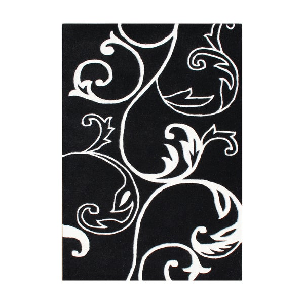 Handmade Floridly Black Blend Wool Rug (9' x 12')