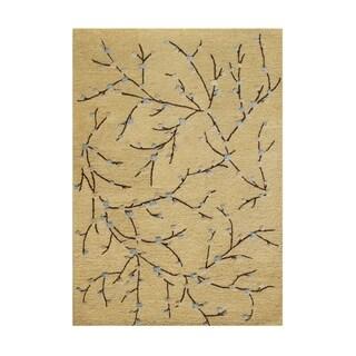Alliyah Handmade Corn Silk New Zealand Blend Wool and Viscose Silk Rug (9' x 12')