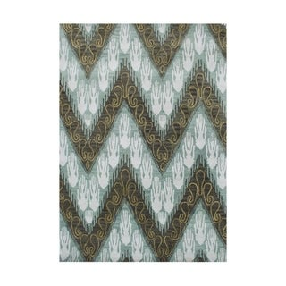Alliyah Handmade Ikat Forest Green New Zealand Blend Wool Rug (9' x 12')