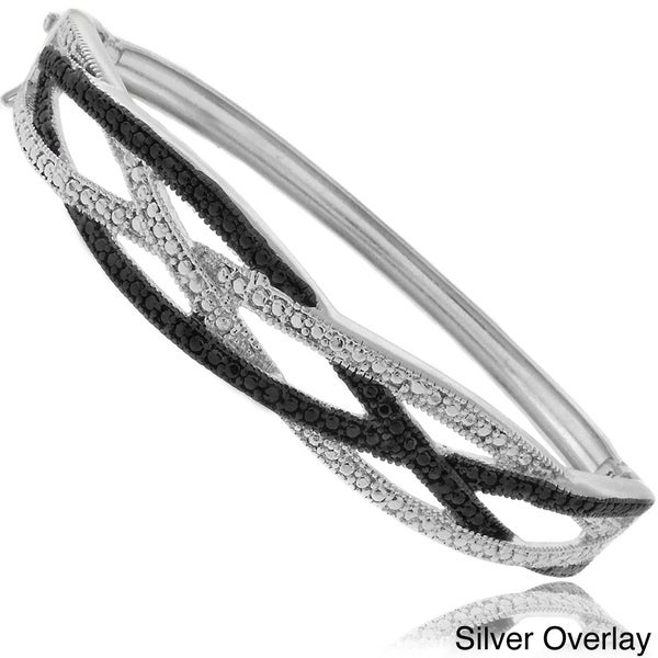 Finesque 18k Gold or Silver Overlay Diamond Accent Braided Bangle