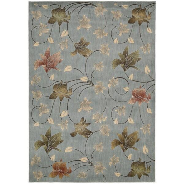 Mondrian Floral Aqua Rug (5'3 x 7'5)