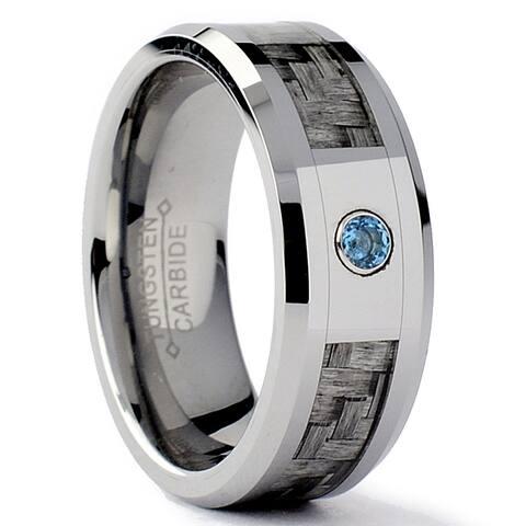 Tungsten Carbide Men's Gray Carbon Fiber Inlay Aquamarine Ring