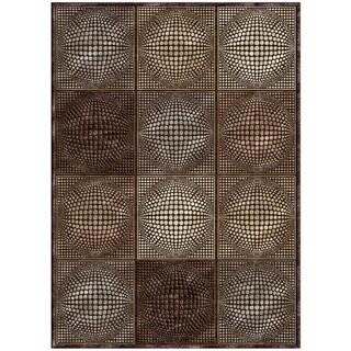 "Grand Bazaar Power Loomed Viscose Penelope Rug in Dark Chocolate / Gray 2'-2"" x 4'"