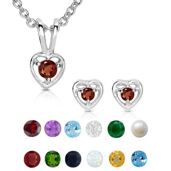 Molly and Emma Sterling Silver Children's Birthstone Heart Jewelry Set. Opens flyout.