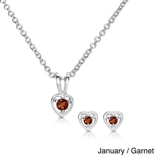Molly and Emma Sterling Silver Children's Birthstone Heart Jewelry Set (More options available)