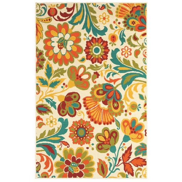 Al Fresco Beige Floral Rug (7'10 x 10'6)